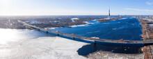 Aerial View Of The South Bridge Over River Daugava In Latvia