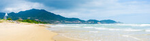 Secluded Tropical Beach Turquoise Transparent Water Palm Trees, Bai Om Undeveloped Bay Quy Nhon Vietnam Central Coast Travel Destination, Desert White Sand Beach