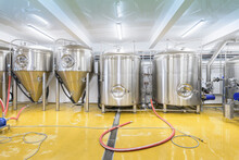 View Of Brewing Tanks In Small Brewery