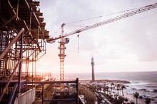 Construction Crane On Coastal Development, Beirut, Lebanon