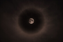 22 Degree Halo Around Moon, Bishop, California, USA