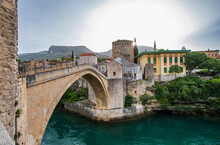 Old Bridge In Mostar Also Called Stari Most Over The River Neretva, Elevated View, Federation Of Bosnia And Herzegovina, Bosnia And Herzegovina