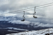 Ski Lifts Over Snow Covered Landscape, Scottish Borders, United Kingdom