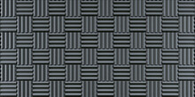 Wall Of Grey Acoustic Foam Panels For Background. 3d Illustration