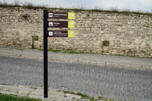 Road Signs In The Historical Center Of Kamyanets-Podilsky