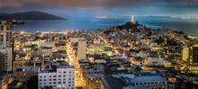 Night View Towards San Francisco Bay And Telegraph Hill In California.