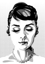 Black And White Illustration Of Audrey Hepburn. Retro Style. Modern Art. Graphic, Poster