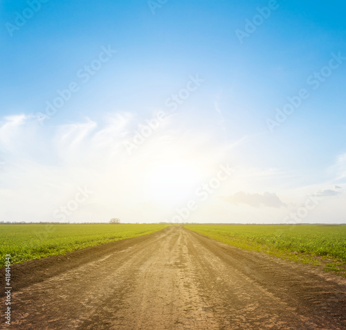 Fotografie, Obraz ground road among green fields at the sunset, countryside rural background