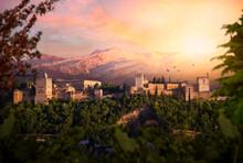 Atardecer En Granada, Con La Alhambra Y Sierra Nevada De Fondo, Vistas Desde El Mirador De San Nicolas.