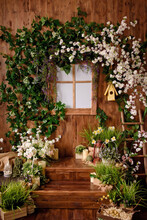 Backdrops For Photo Studio With Spring Decor For Kids And Family Photo Sessions.selective Focus.