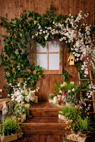 Fényképezés Backdrops for photo studio with spring decor for kids and family photo sessions