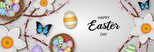 Happy Easter Banner With Colorful Eggs Butterflies And Flowers