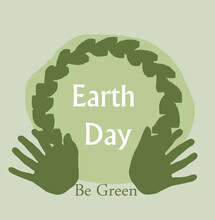 Earth Day Banner, 22nd April. Illustration With Frame And Leaves. Silhouette Of Hands Raised Up.