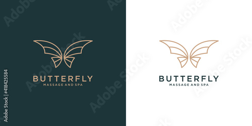Wallpaper Mural Luxury Butterfly logo design icon