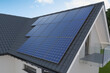 Solar panels on the roof, 3D illustration