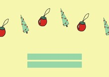 Christmas Trees And Decorations And Two Green Rectangles With Copy Space On Cream Background