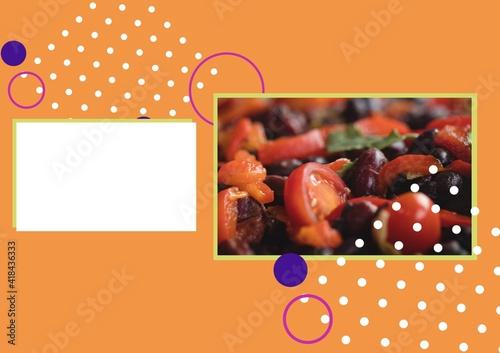 Illustration with photo of tomato salad with blank white rectangle and elements on orange background