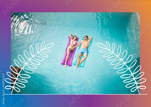 Illustration of couple lying on inflatables in pool with leaf drawing on purple to orange background