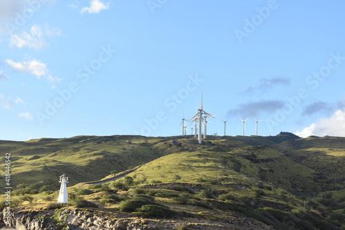 Closeup of mountain wind generators turbines on a mountainside of, Maui, Hawaii Wallpaper Mural