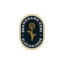 Gold Rose Flower Logo Design Vector Illustration