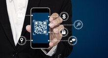 QR Code Technology. Scanning Payment And ID Verification By QR Code On Mobile Smart Phone