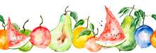 Watercolor Painting, Vintage Seamless Pattern - Tropical Fruits, Citrus, Slices Of Lemon, Orange, Mandarin, Pear.apricot, Peach, Apple, Plum, Cherry Plum. Watermelon. Splash Of Paint Yellow, Red