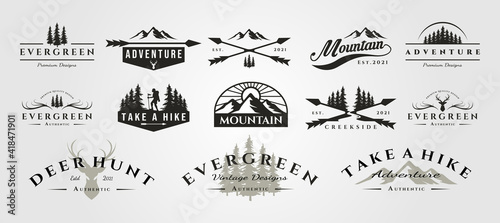 Photo set of vector adventure mountain outdoor vintage logo symbol illustration design