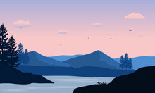 Beautiful Morning View From The River Bank With Mountains And Trees Around It. Vector Illustration