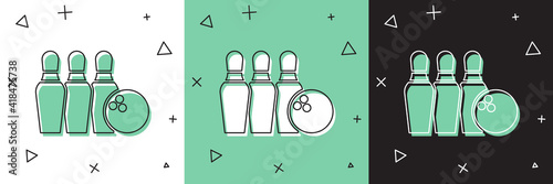 Photo Set Bowling pin and ball icon isolated on white and green, black background