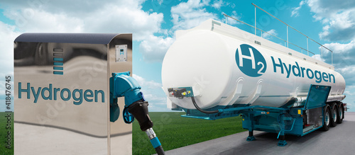 Photo Tank trailer with hydrogen and H2 filling station on the background of a green field and blue sky
