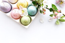 Top View Of  Painted Easter Eggs