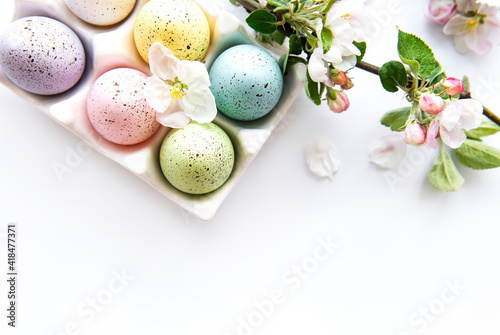 Obraz Top view of  painted easter eggs - fototapety do salonu