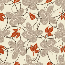 Seamless Pattern With With Butterflies In The Style Of The 70
