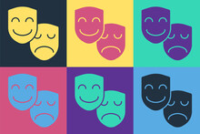 Pop Art Comedy And Tragedy Theatrical Masks Icon Isolated On Color Background. Vector.