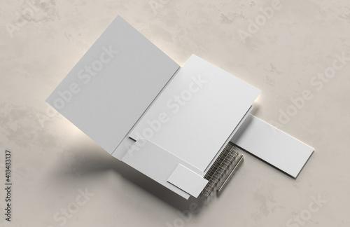 Obraz Corporate identity stationery mock up isolated on modern style background. Mock up for branding identity. 3D illustration - fototapety do salonu