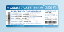 Cruise Boarding Pass Design Template. Ferry Boat Ticket Mockup. Vector Illustration Of Control Coupon For Access To Ship, With Barcode