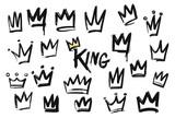 Fototapeta Młodzieżowe - Set of crown icon in brush stroke texture paint style. hand drawn illustration.
