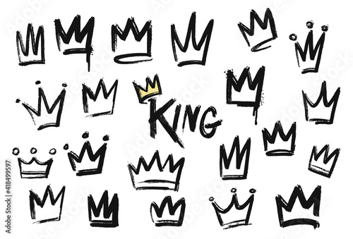 Foto Set of crown icon in brush stroke texture paint style
