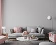 Leinwandbild Motiv Elegant modern living room design, wall mockup in pink and gray home decor, 3d render