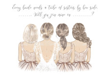 Bride With Bridesmaids In A Line, Hand Drawn Illustration