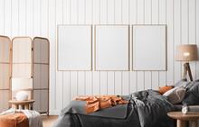 Frame Mockup In Coastal Bright Bedroom, Rattan Furniture And Orange Bedding In Trendy Decoration, 3d Render