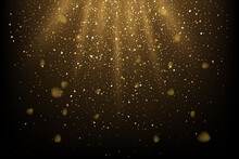Golden Glitter And Sparkles In Sun Rays Background. Yellow Lines In Shiny Light Vector Illustration. Bright Dust Sparkling On Black Wallpaper Design. Christmas Or Holiday Card Decoration