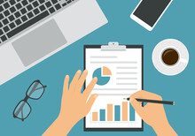 Flat Design Illustration Of Man Or Woman Hands Writing With Pencil On Sheet Of Paper With Analysis And Financial Chart. Laptop And Cup Of Coffee With Glasses On Green Office Desk Board, Vector