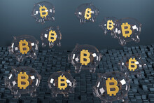 Piggy Bank Shaped Bubbles With The Bitcoin Symbol Inside. 3d Illustration.