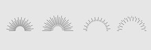 Set. Sunburst Icon Collection Vector.