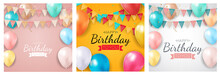 Happy Birthday Holiday Party Background Set With Flags And Balloons. Vector Illustration EPS10