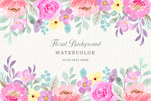 Pink Floral Watercolor Background