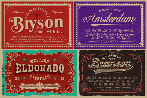 Canvas Print A set of different fonts in retro style, these fonts are perfect for alcohol lab
