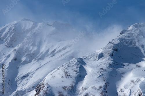 北海道 十勝岳連峰の冬の風景 #418529531