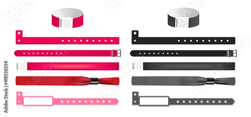 Fotografija Vector set of different bracelets or wristbands in red and black isolated
